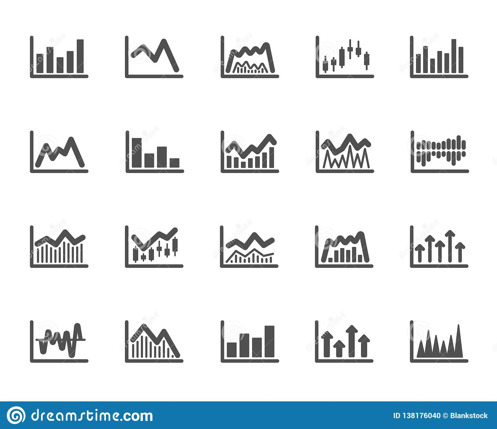 set of candle stick graph, report diagram and infochart icons  growth,  trade and investment chart  stock exchange, candlestick and financial diagram  graph