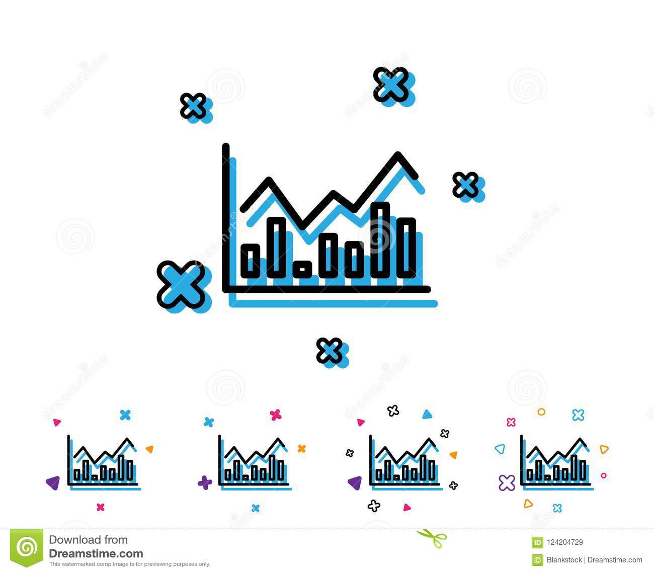 Financial Chart Line Icon Finance Graph Stock Vector
