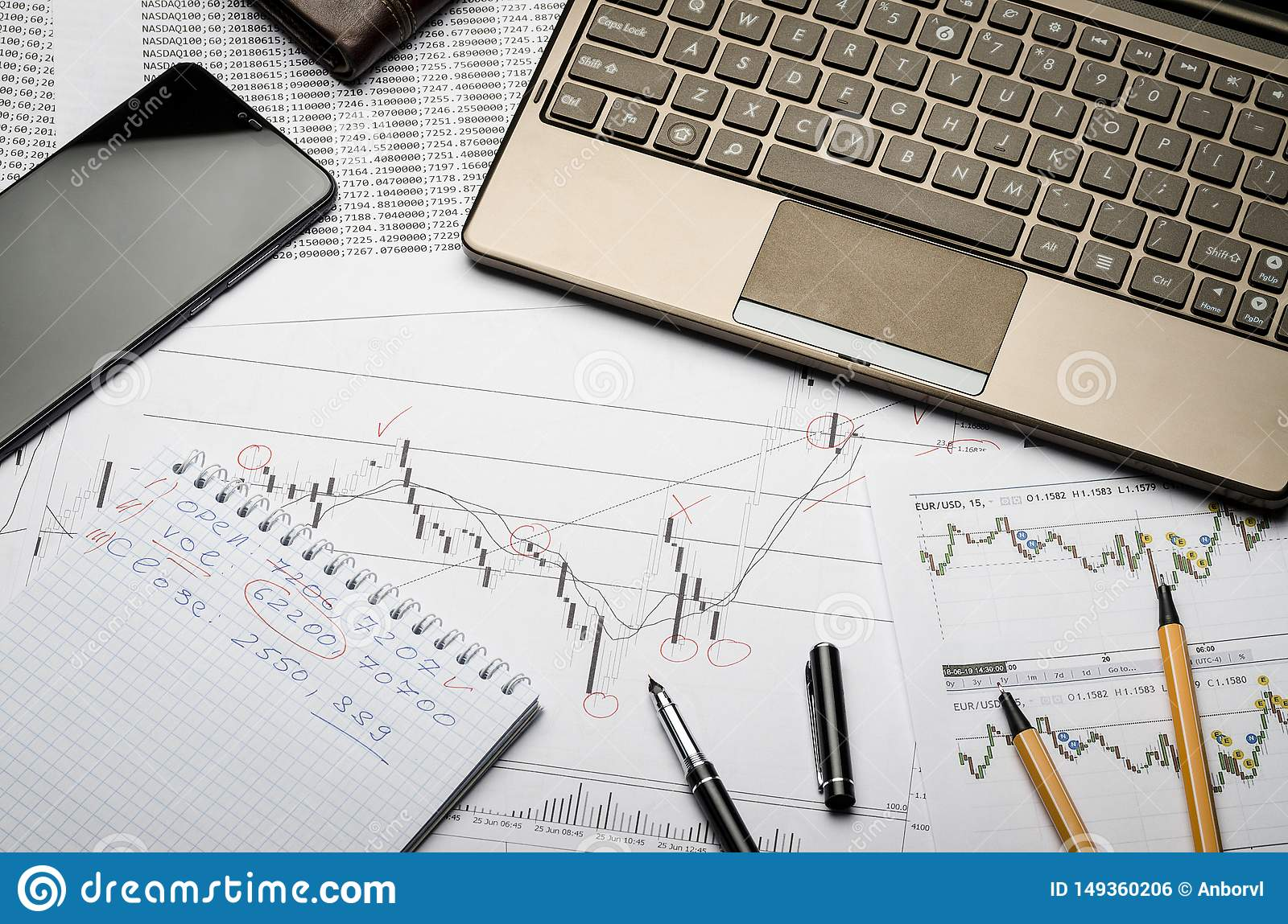 Financial charts of currencies on paper, profit analysis, financier`s workplace