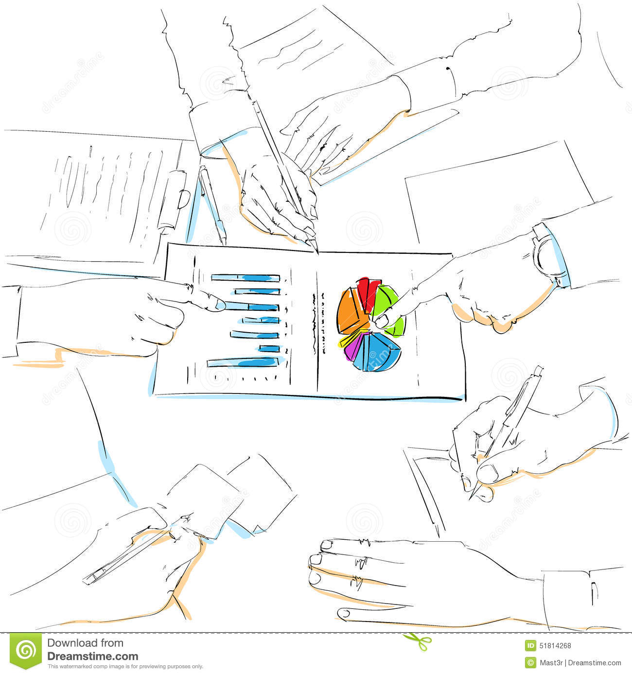 Financial Charts Sketch Business People Team Work Stock