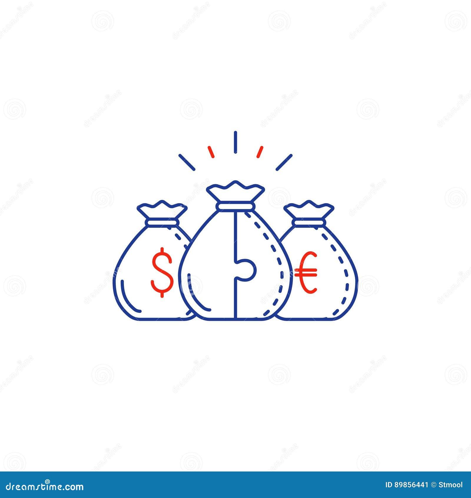 financial concept budget plan money bags compound interest line
