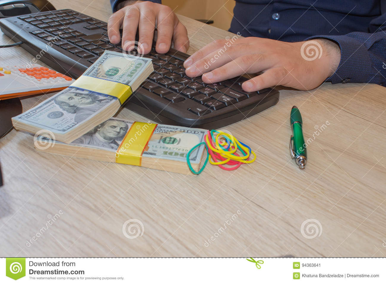 Financial concept. Make money on the Internet. Businessman working with laptop in office