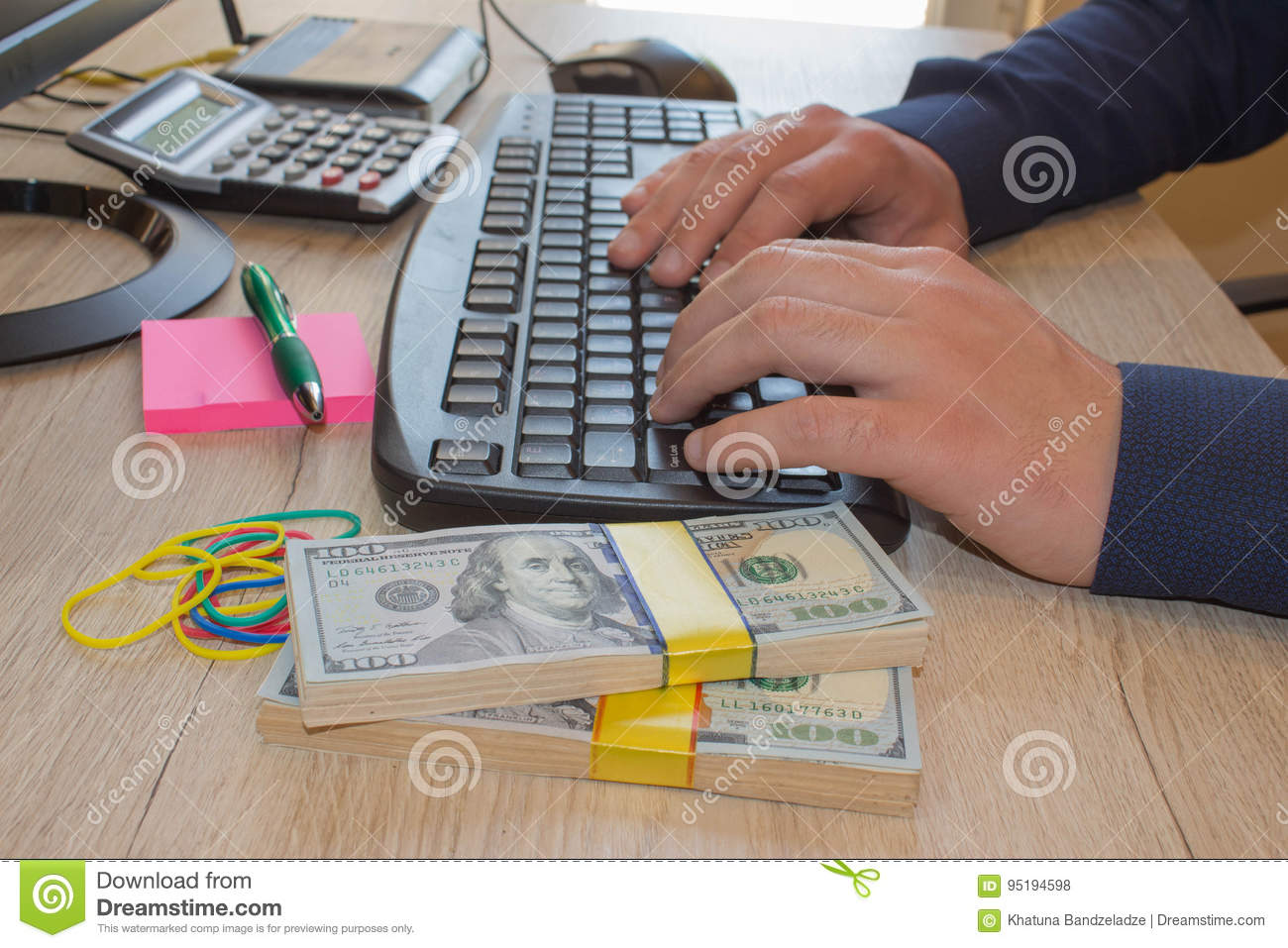 Financial concept. Make money on the Internet. Businessman works at office