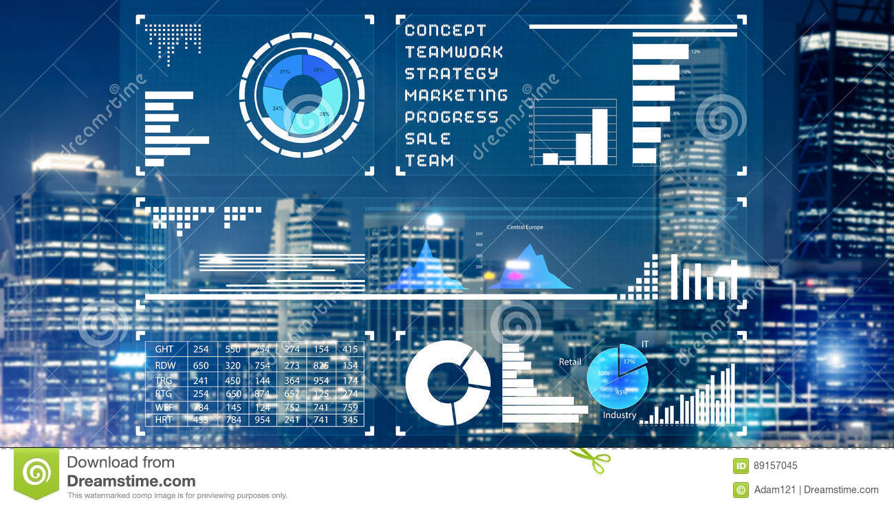 Financial Consulting And Analytics Concept With Infographs On Sc ...