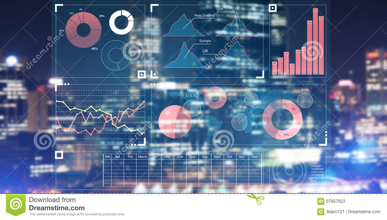 Financial Consulting And Analytics Concept With Infographs On Screen ...