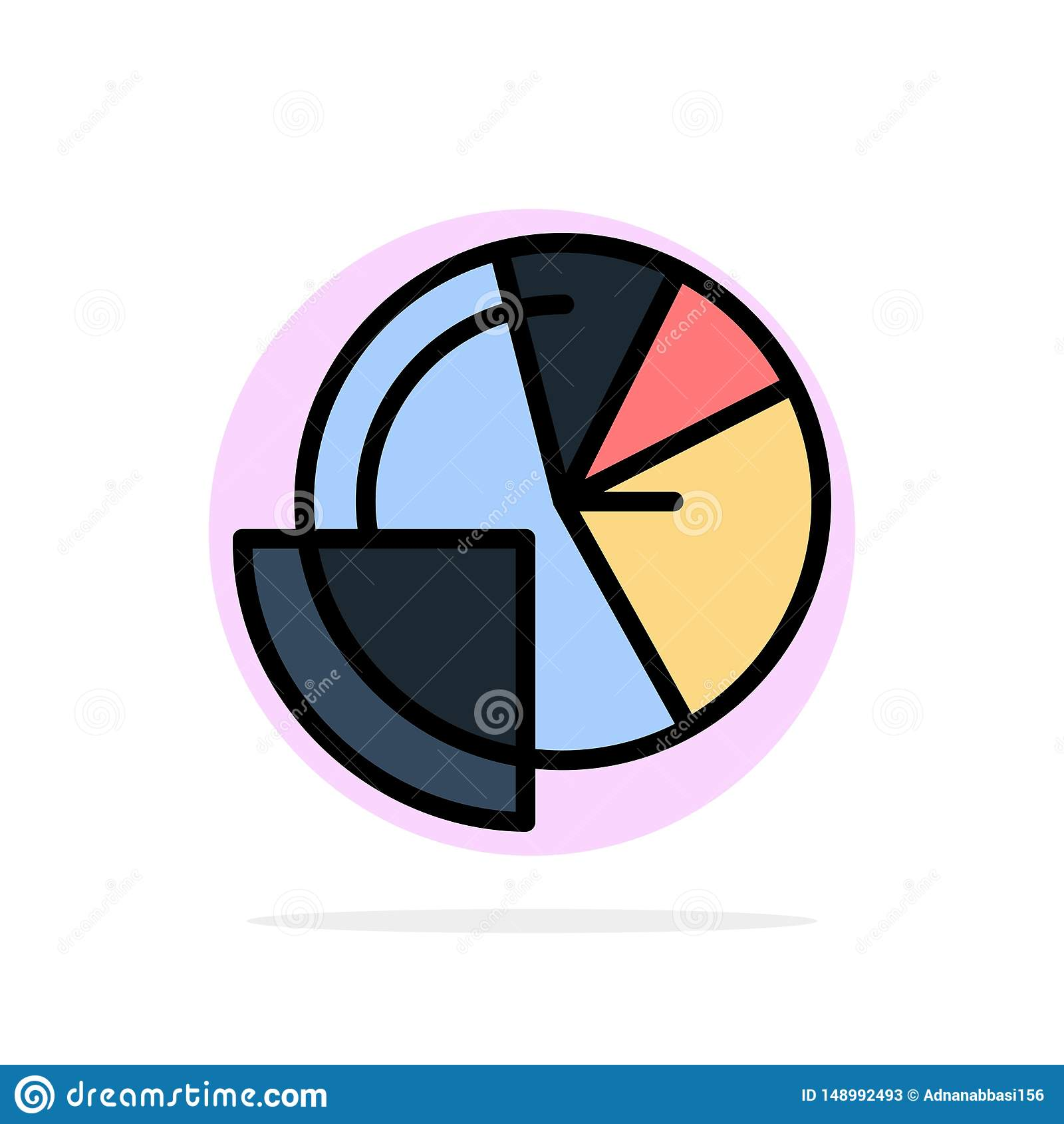 Financial Data, Analysis, Analytics, Data, Finance Abstract Circle Background Flat color Icon
