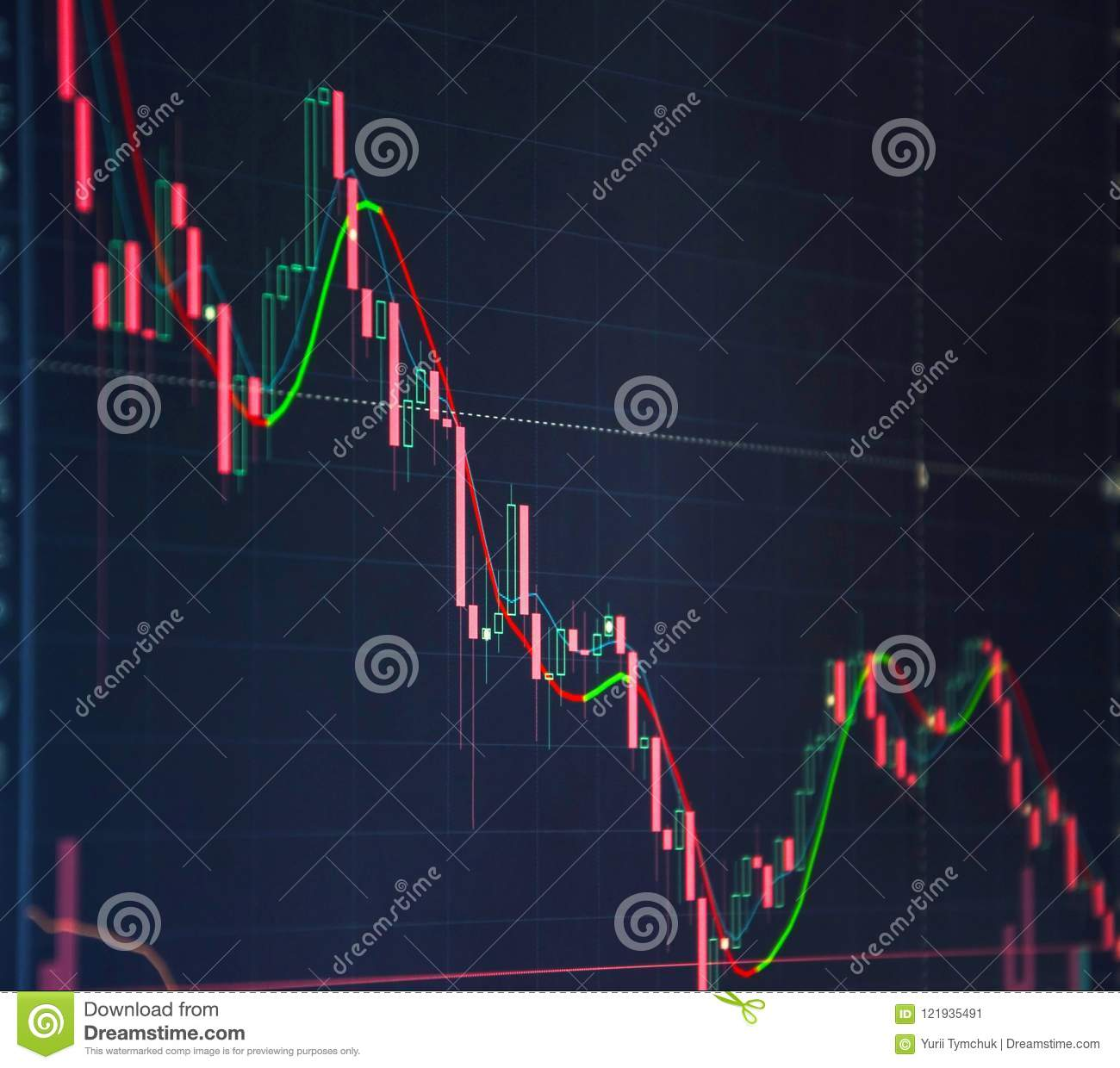 Financial data on a monitor as finance data concept. Share price candlestick chart