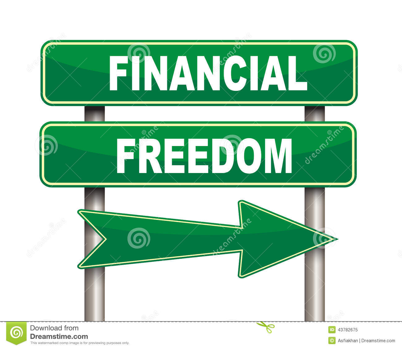 Finance Sign: Financial Freedom Green Road Sign Stock Illustration