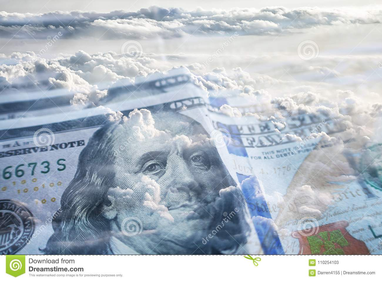 Financial Freedom With Hundreds & Clouds