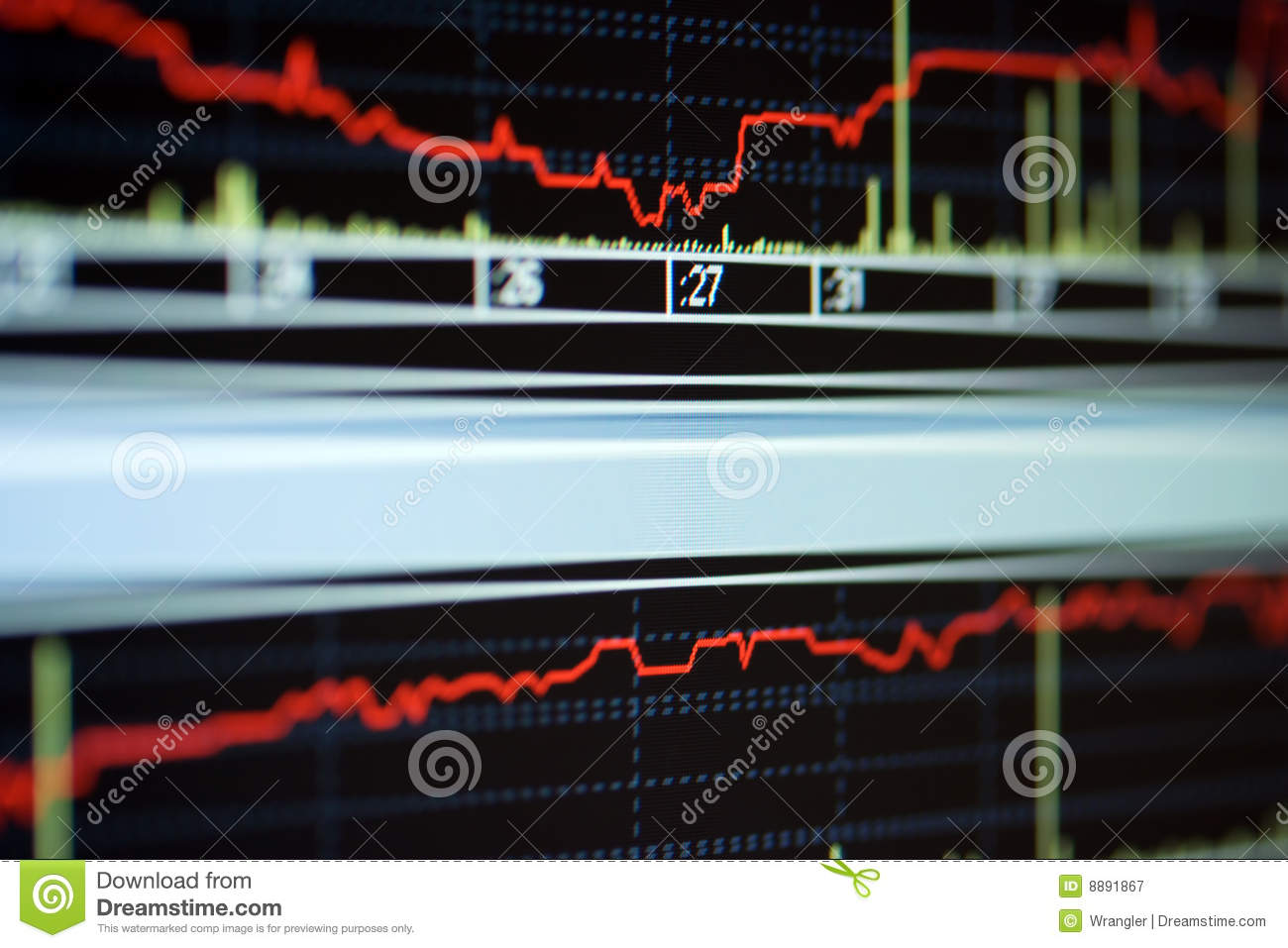 Financial graphs on the computer monitor