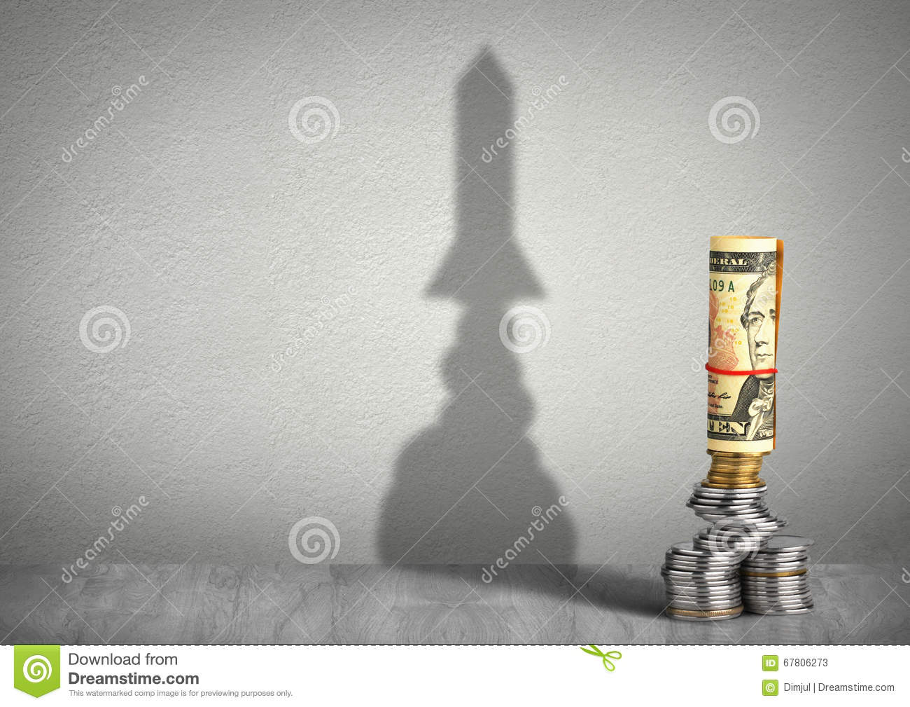 Financial growth creative concept, money with rocket shadow