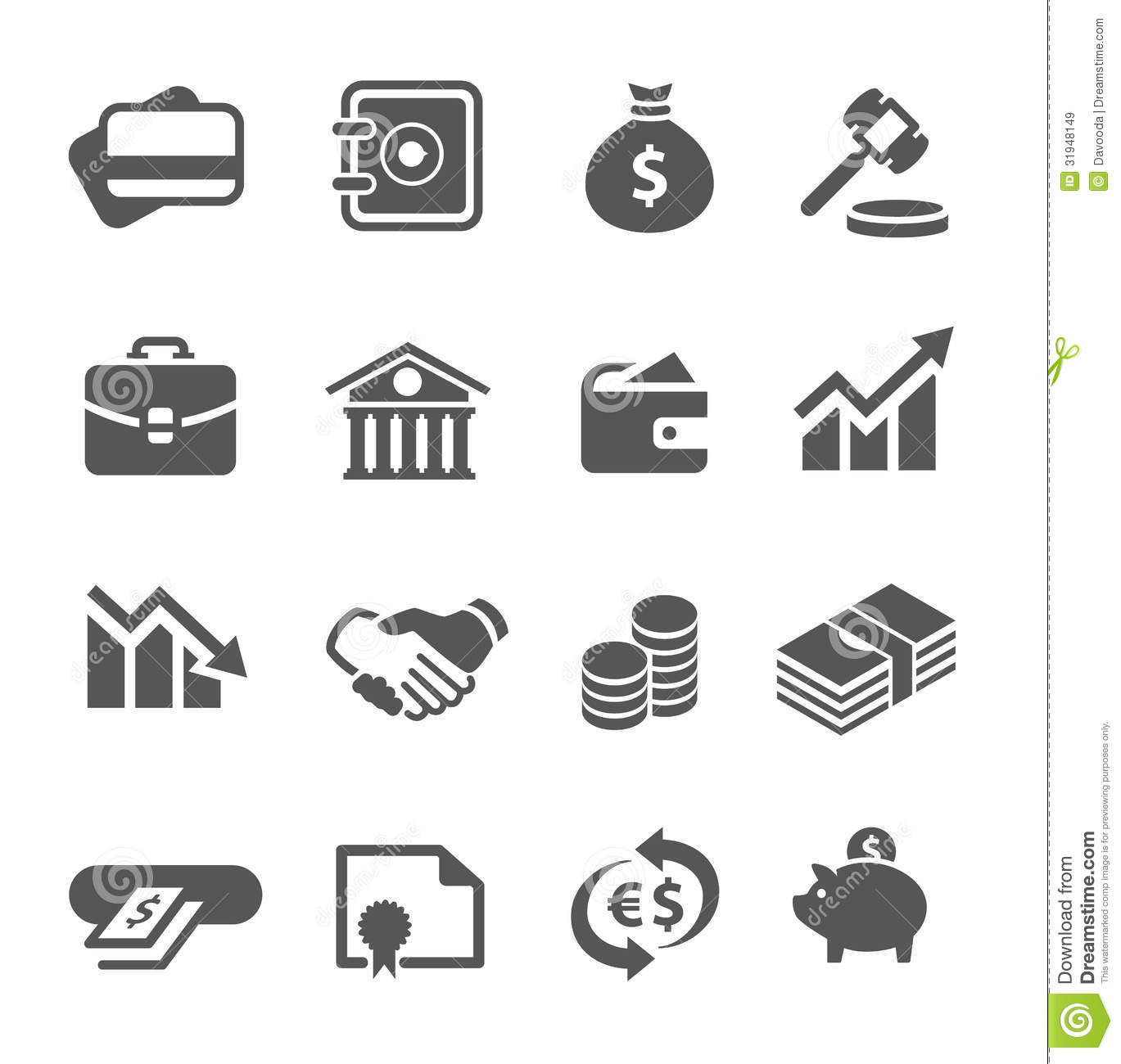 financial icons set stock vector illustration of coin 31948149