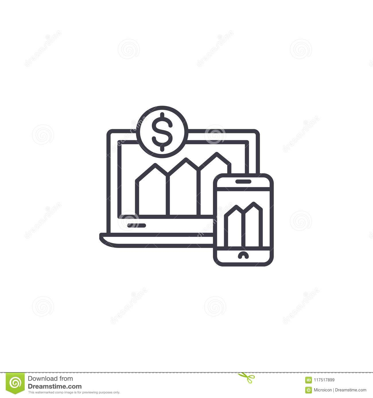 Financial indicators linear icon concept. Financial indicators line vector sign, symbol, illustration.