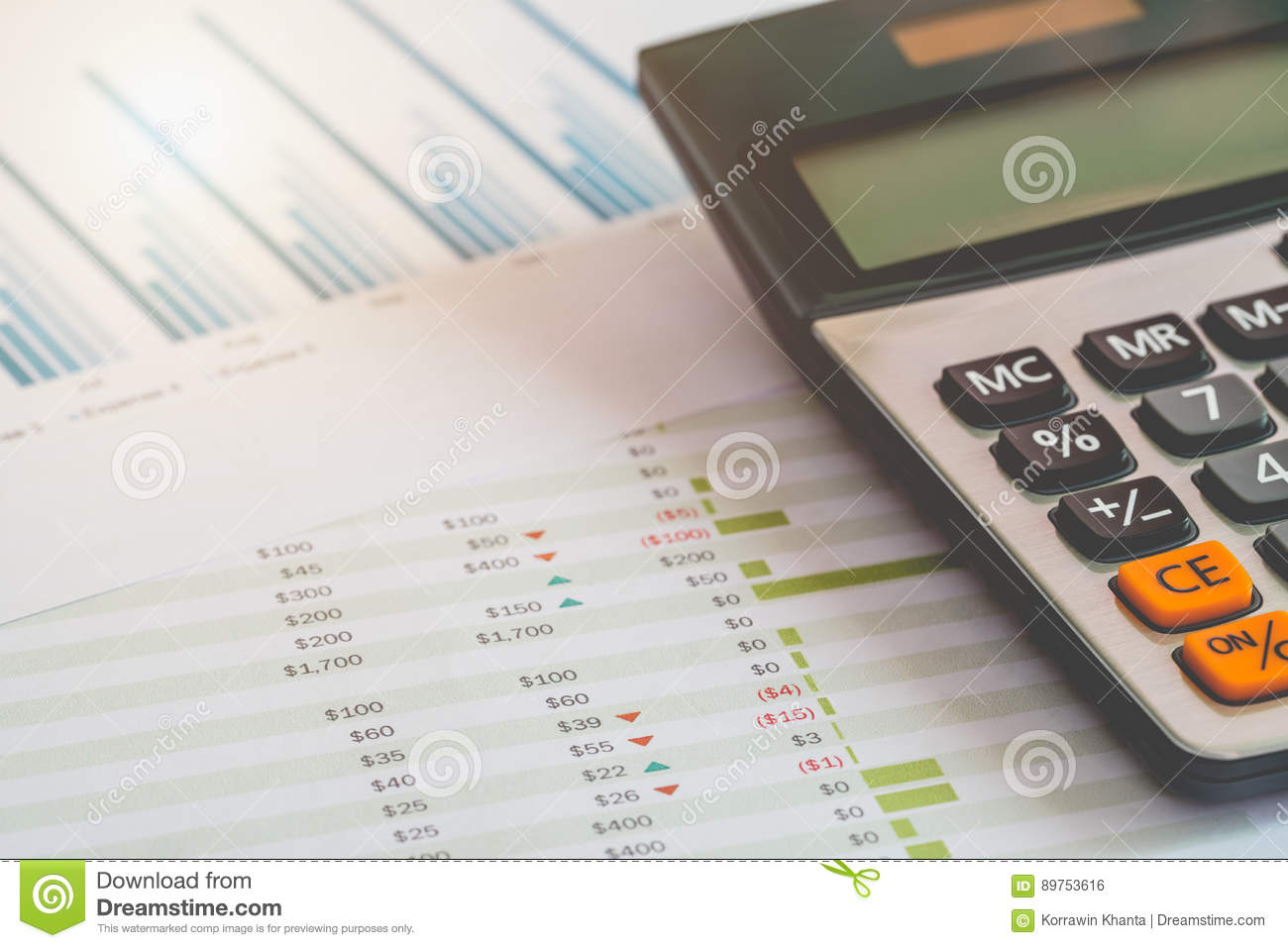 financial management concept calculator and many documents of