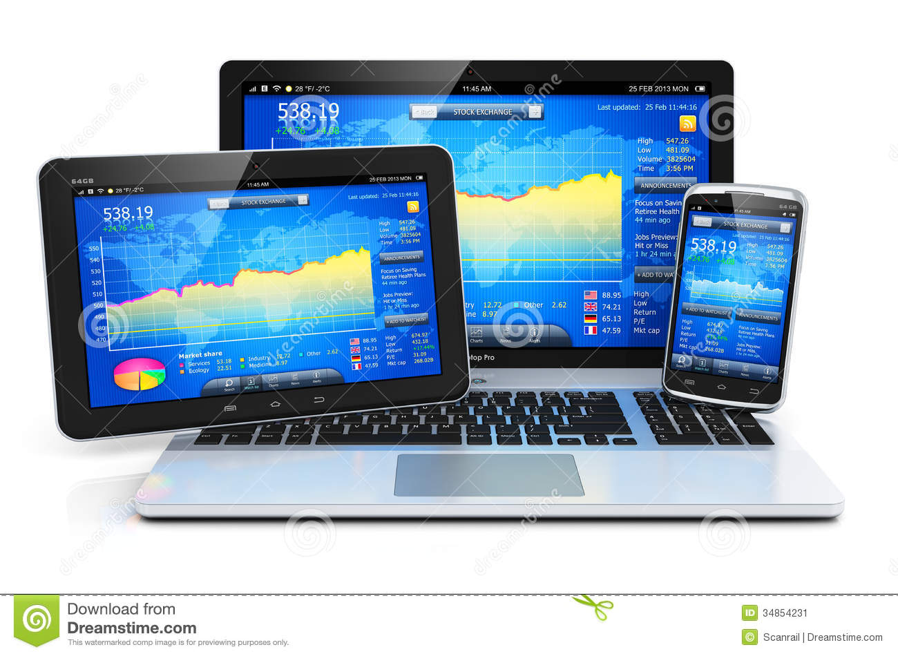 Financial Management On Mobile Devices Stock Illustration - Illustration: 34854231