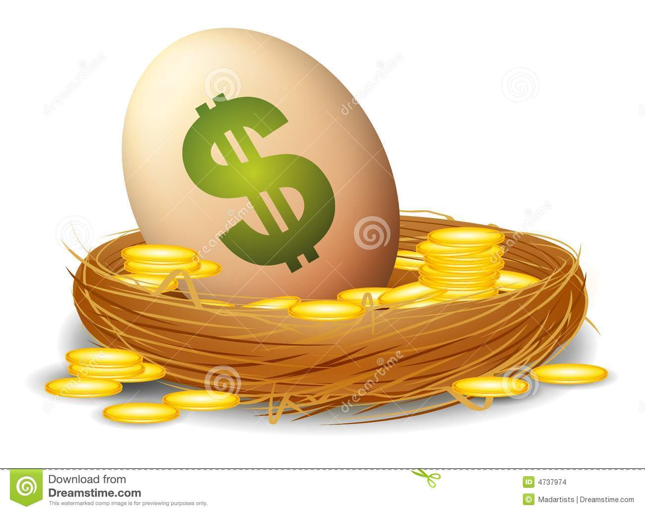 An illustration featuring an egg with a dollar sign sitting in a bird ...