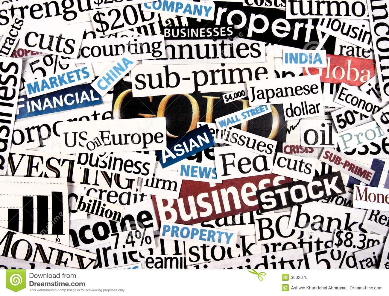 financial newspaper cuttings stock photo image 3602070