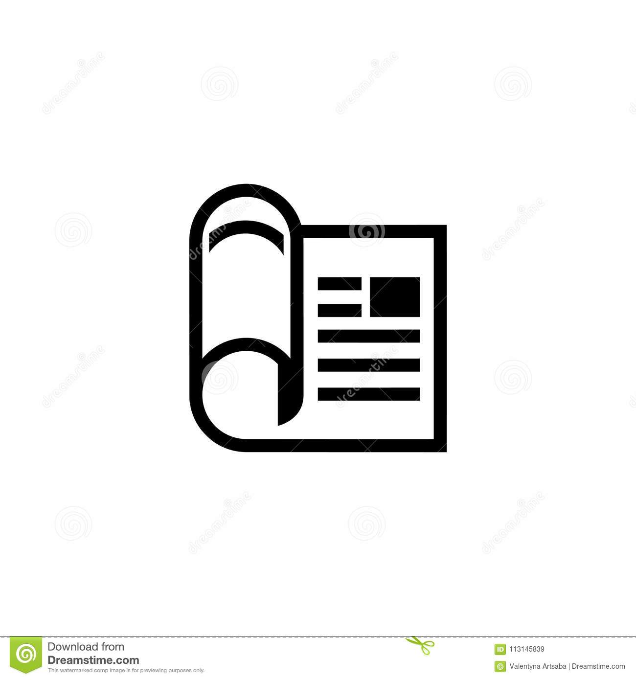 financial newspaper flat vector icon stock vector - illustration of