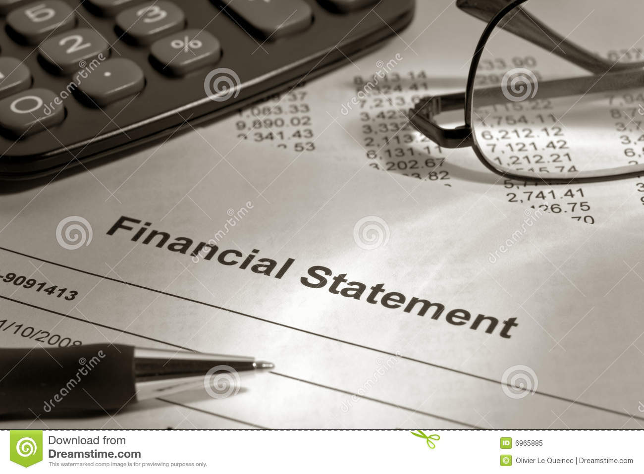 Financial pen statement