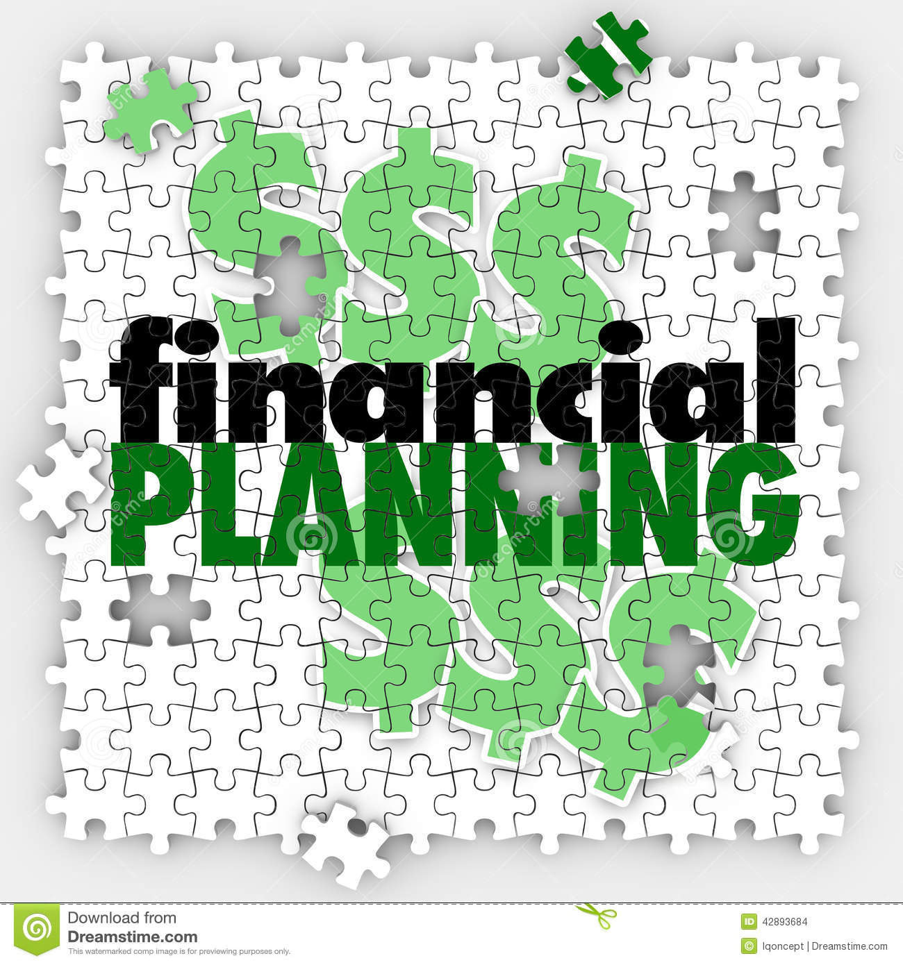 Finance Words: Financial Planning Puzzle Pieces Finish Budget Retirement