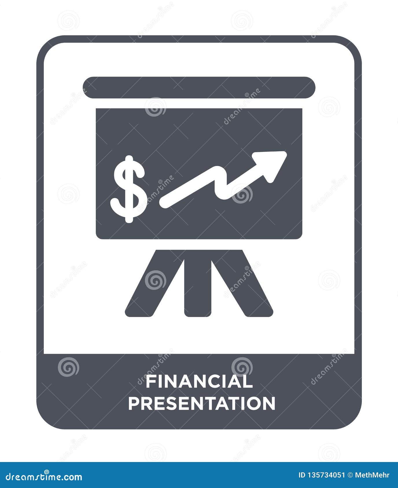 financial presentation icon in trendy design style. financial presentation icon isolated on white background. financial