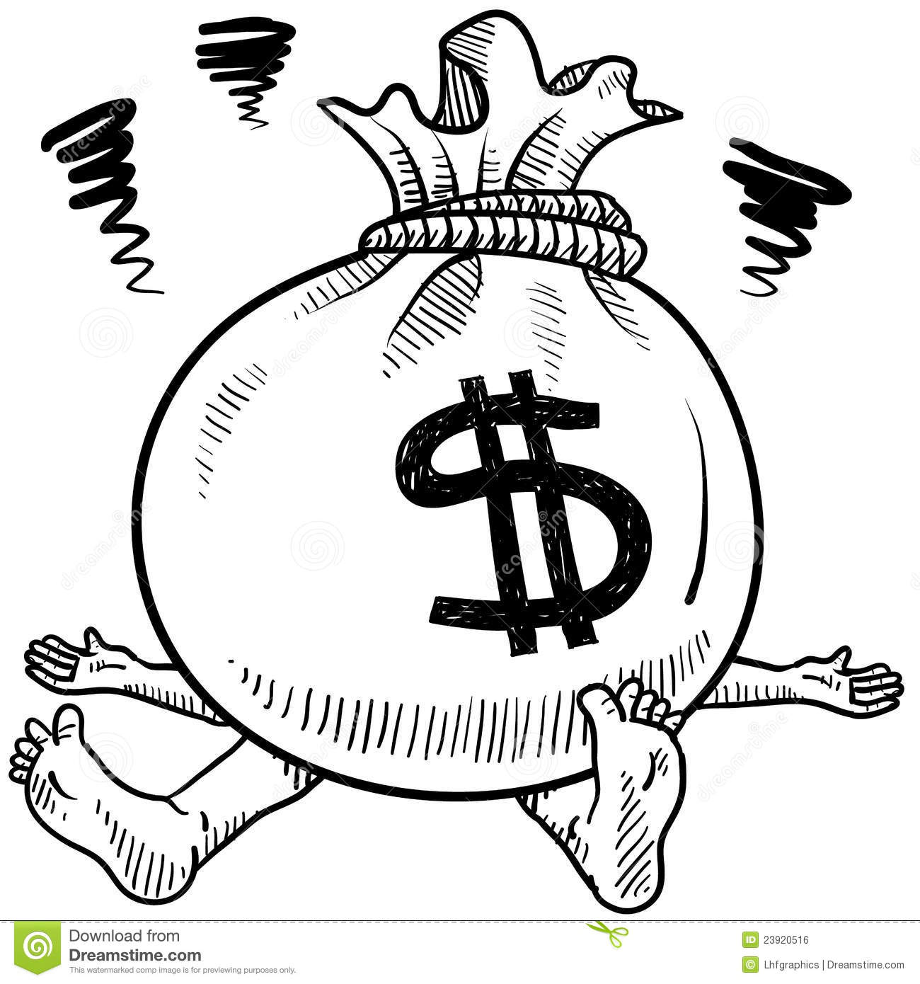 Royalty Free Stock Image Financial Problems Stress Vector Image23920516 on drawing money bag