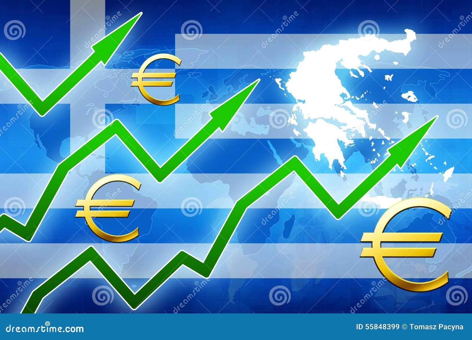 Financial Prosperity In Greece Green Arrows Euro Currency Symbol