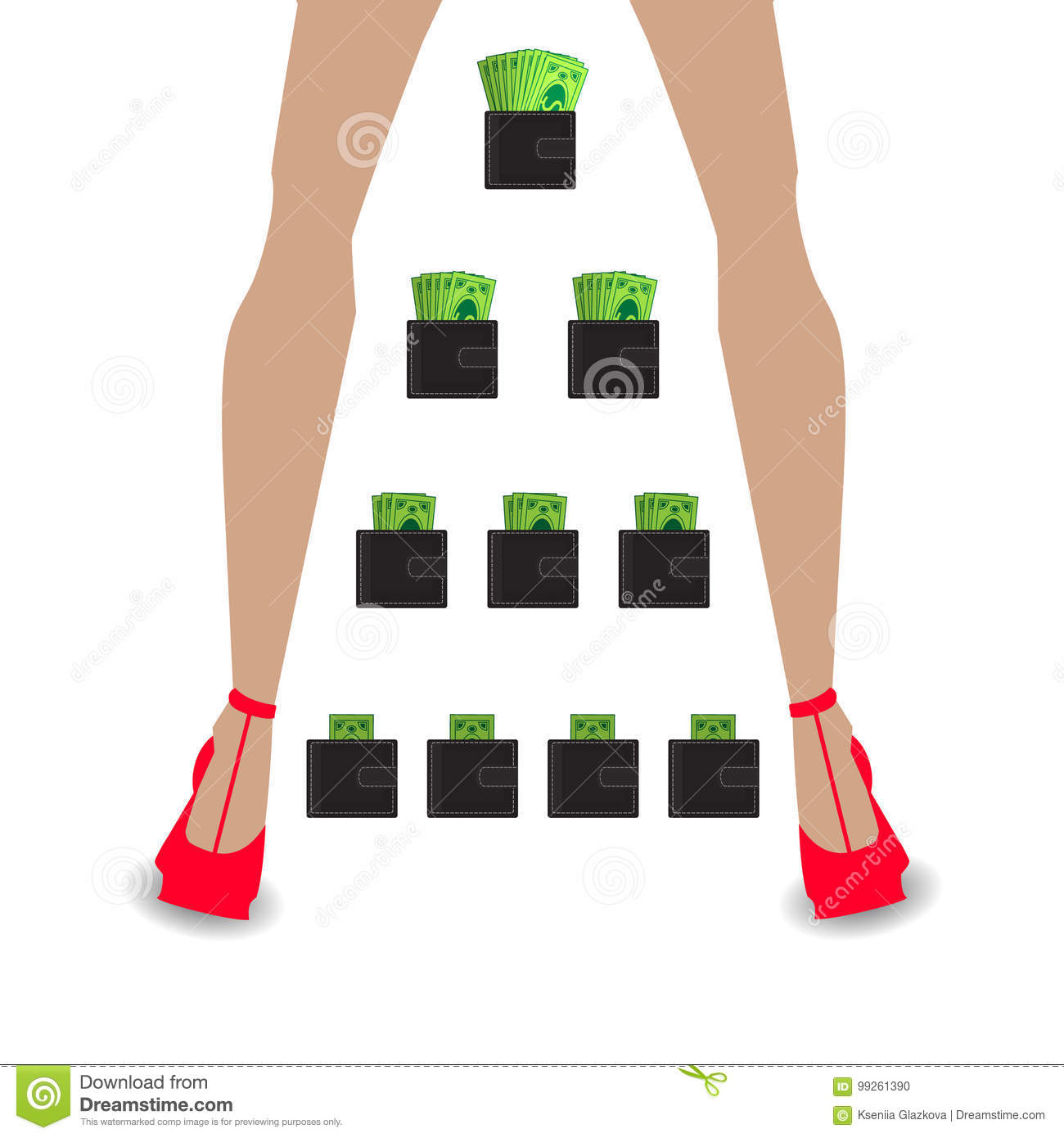 Financial Pyramid Concept Business Mlm Network Marketing Wallet With Money Womens Legs In Red Shoe