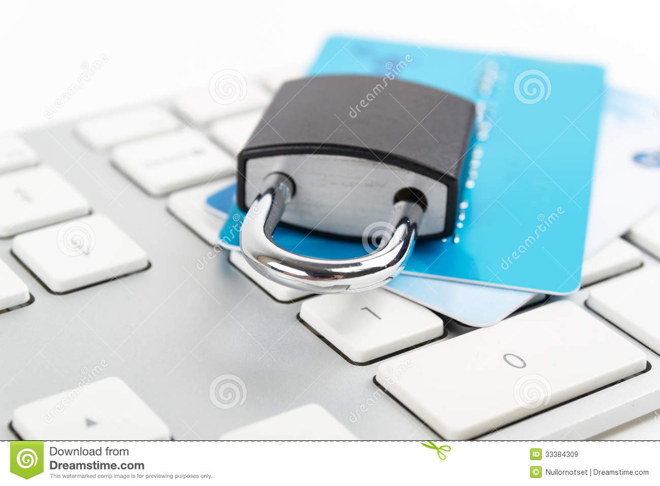 Financial security concept. credit card and lock on the keyboard