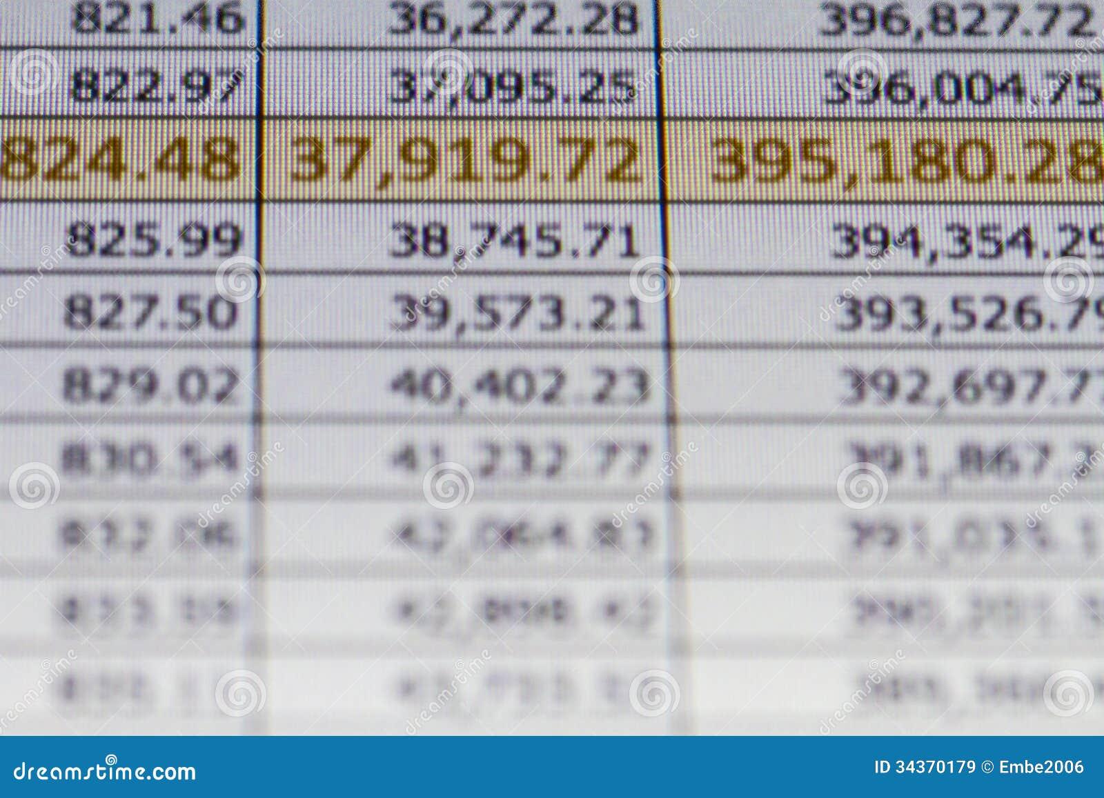 Financial Spreadsheet Stock Photo - Image: 34370150