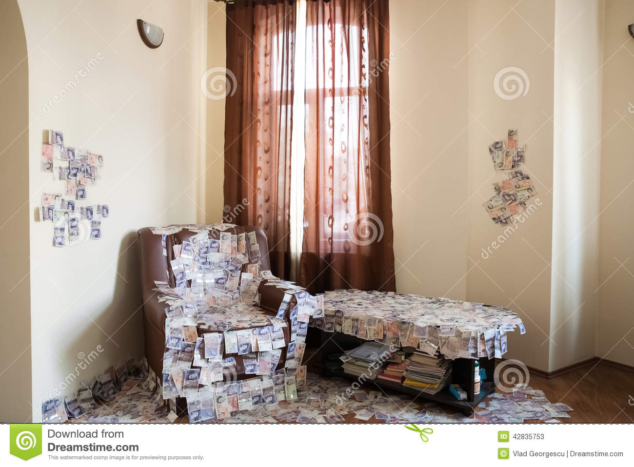 financial success a room full of money uk pounds sterling