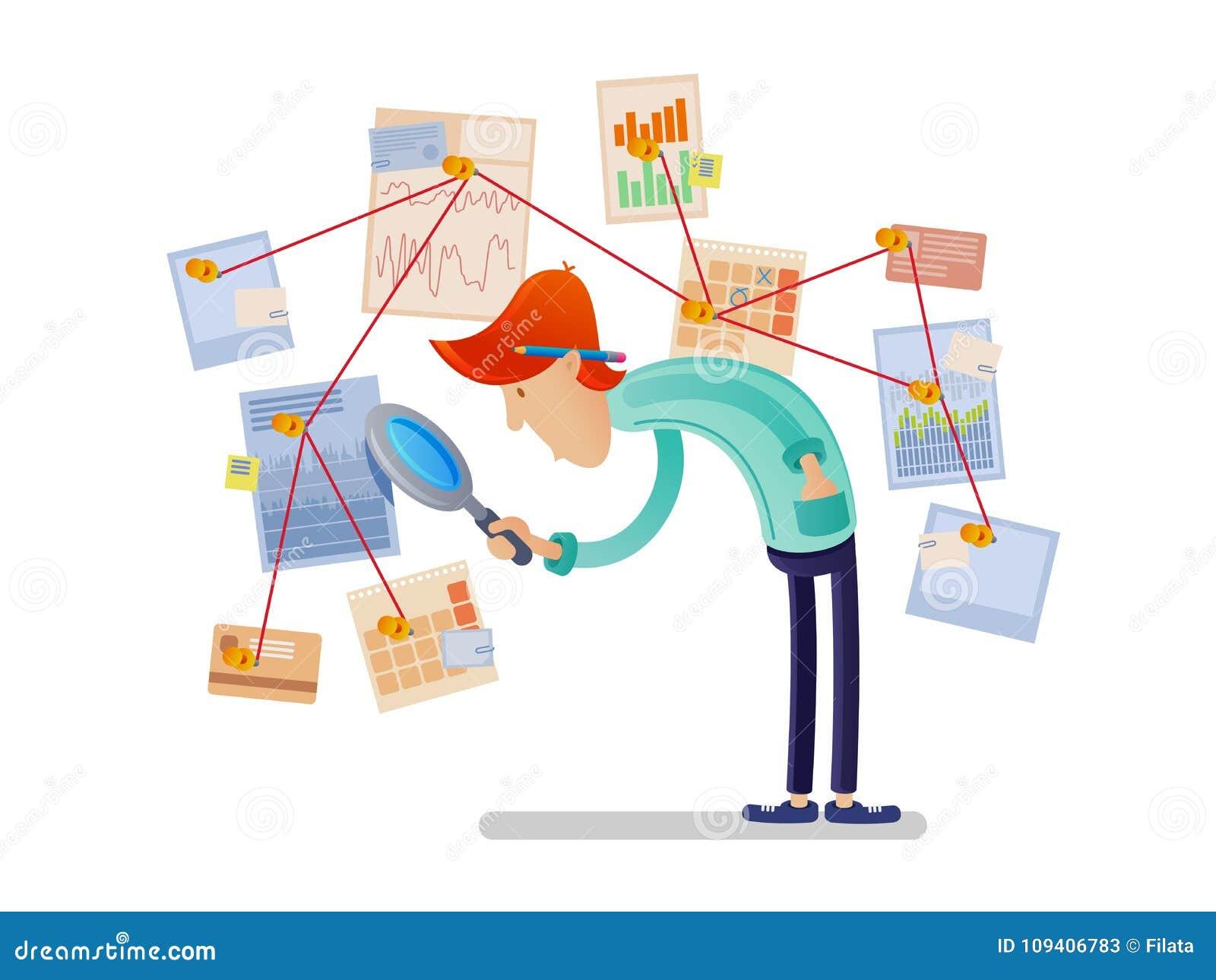 Financieel analist met vergrootglas