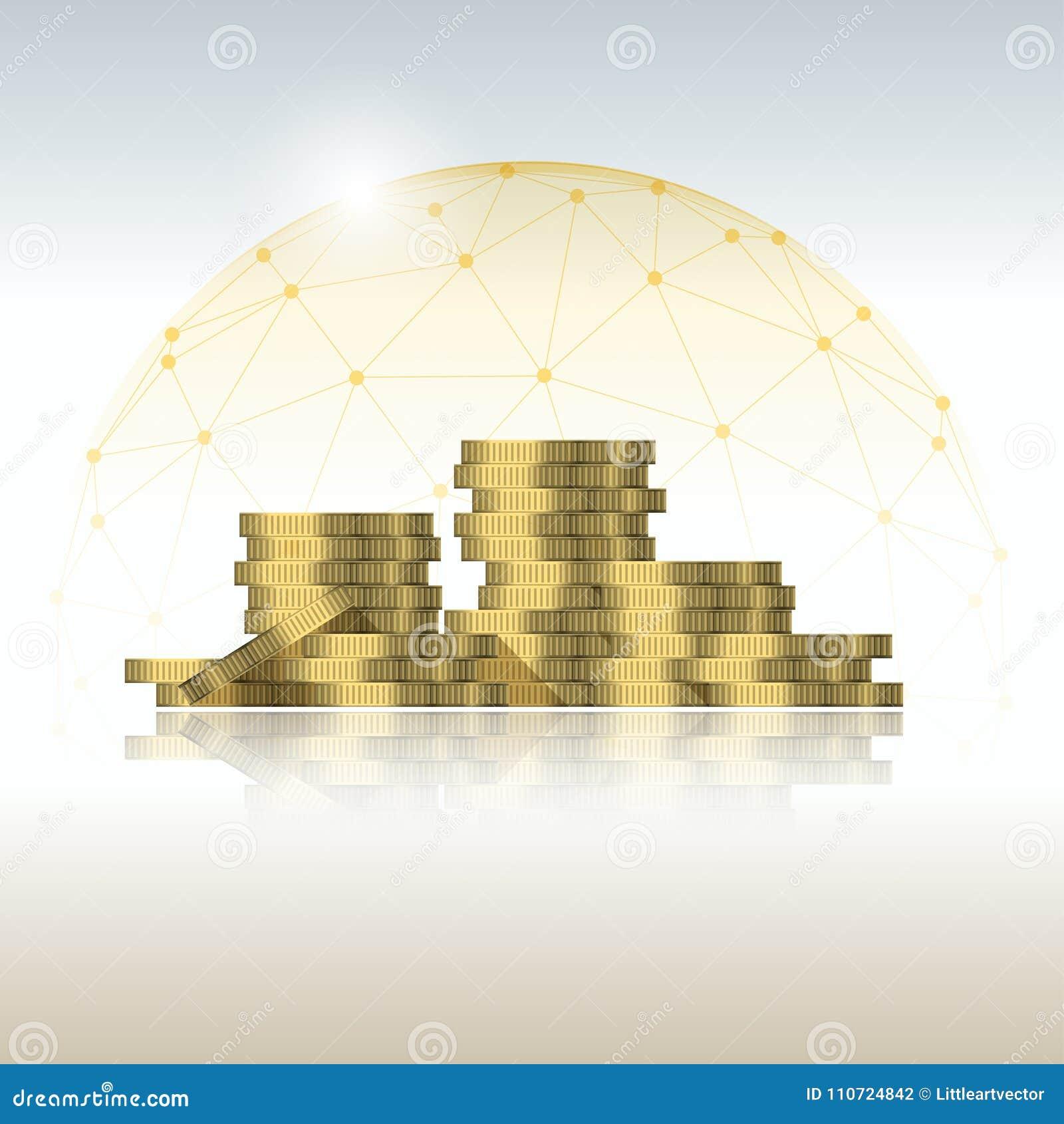 Financieel die beheer concept met muntstukstapels in veelhoekig koepelschild worden beschermd
