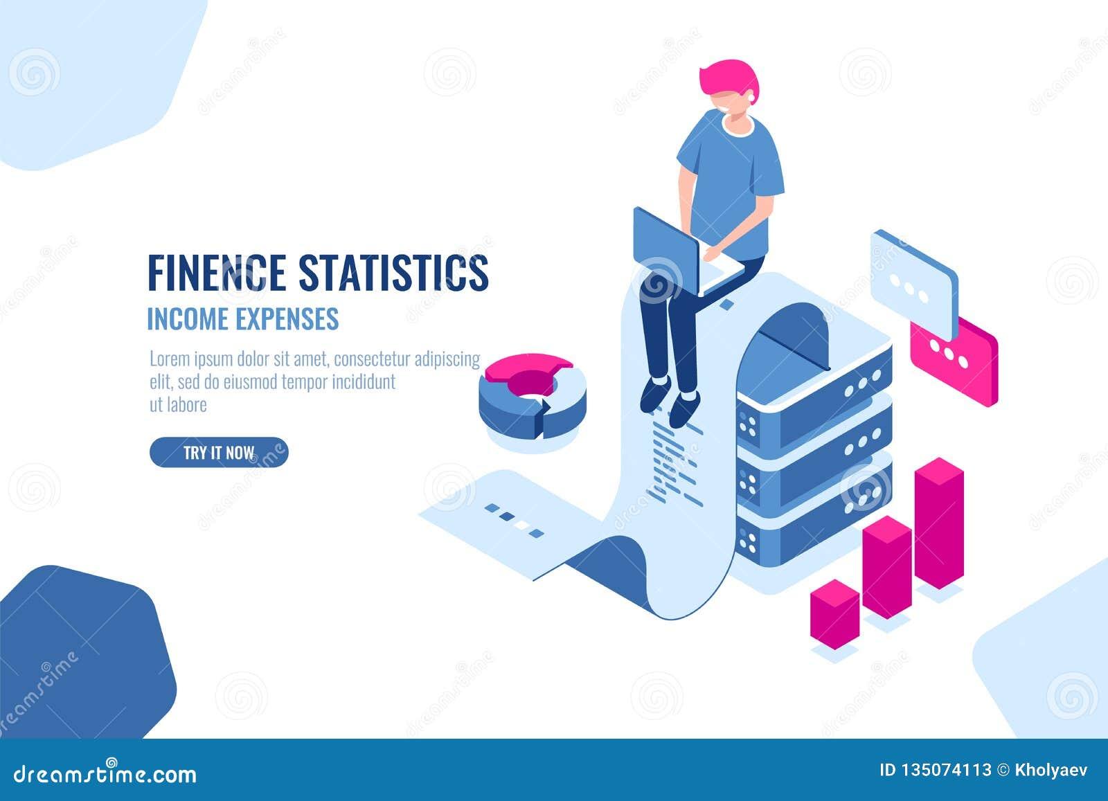 Financieel statistieken isometrisch pictogram, grote gegevens - verwerking, het concept van de inkomensuitgave, ponsband met teks