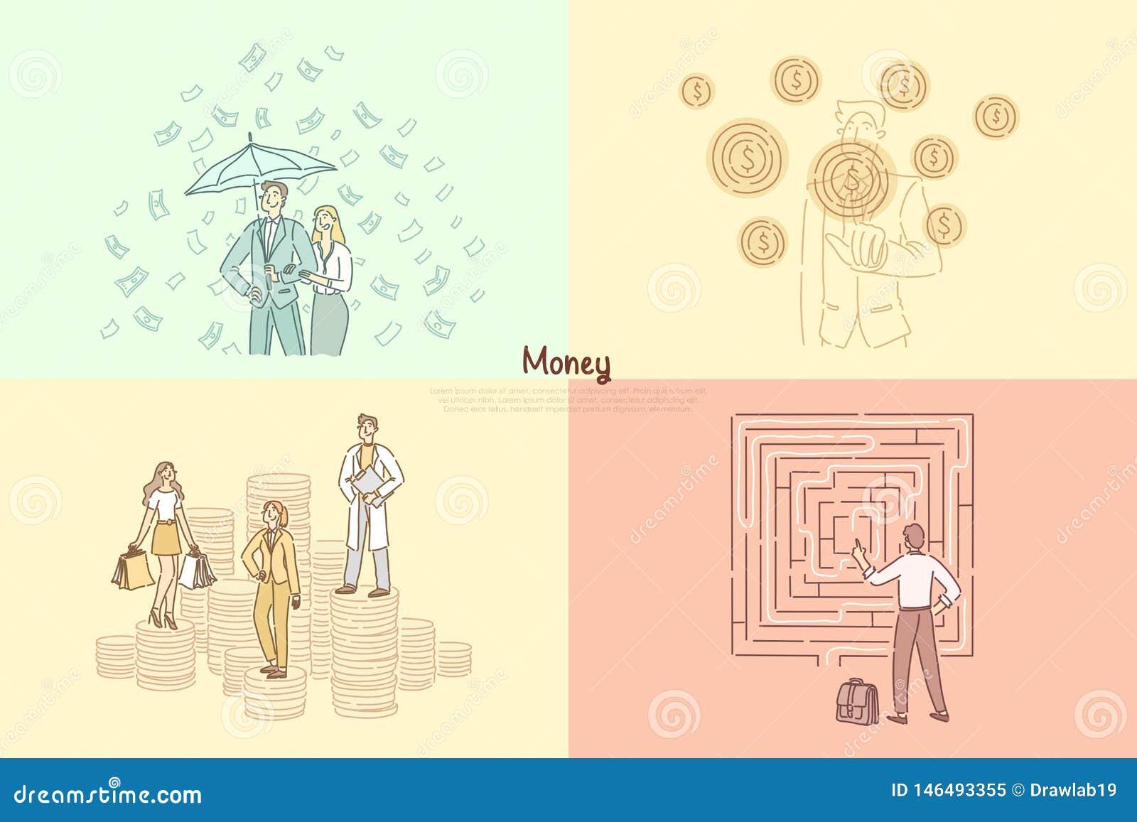 Financier, banquier, calibre financier de bannière de bénéfice de consultation, d aide, de commerce et de commerce