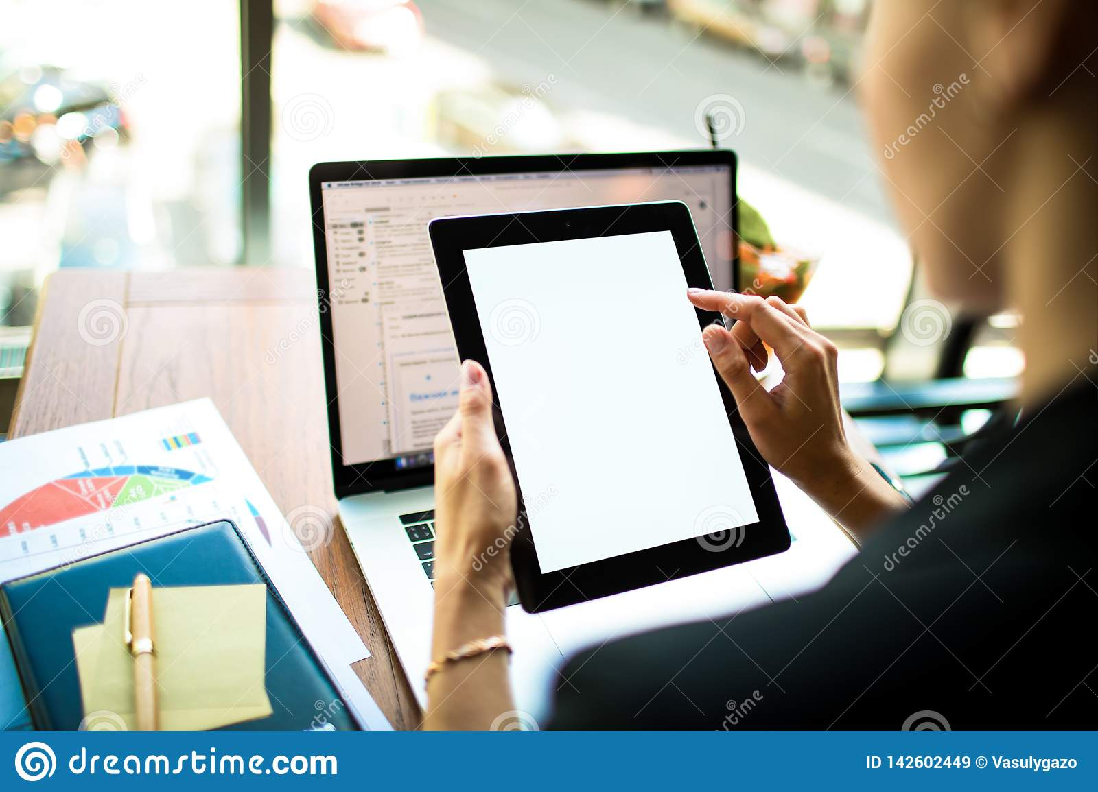 Financier online payment via digital tablet with white blank monitor. CEO using web sites