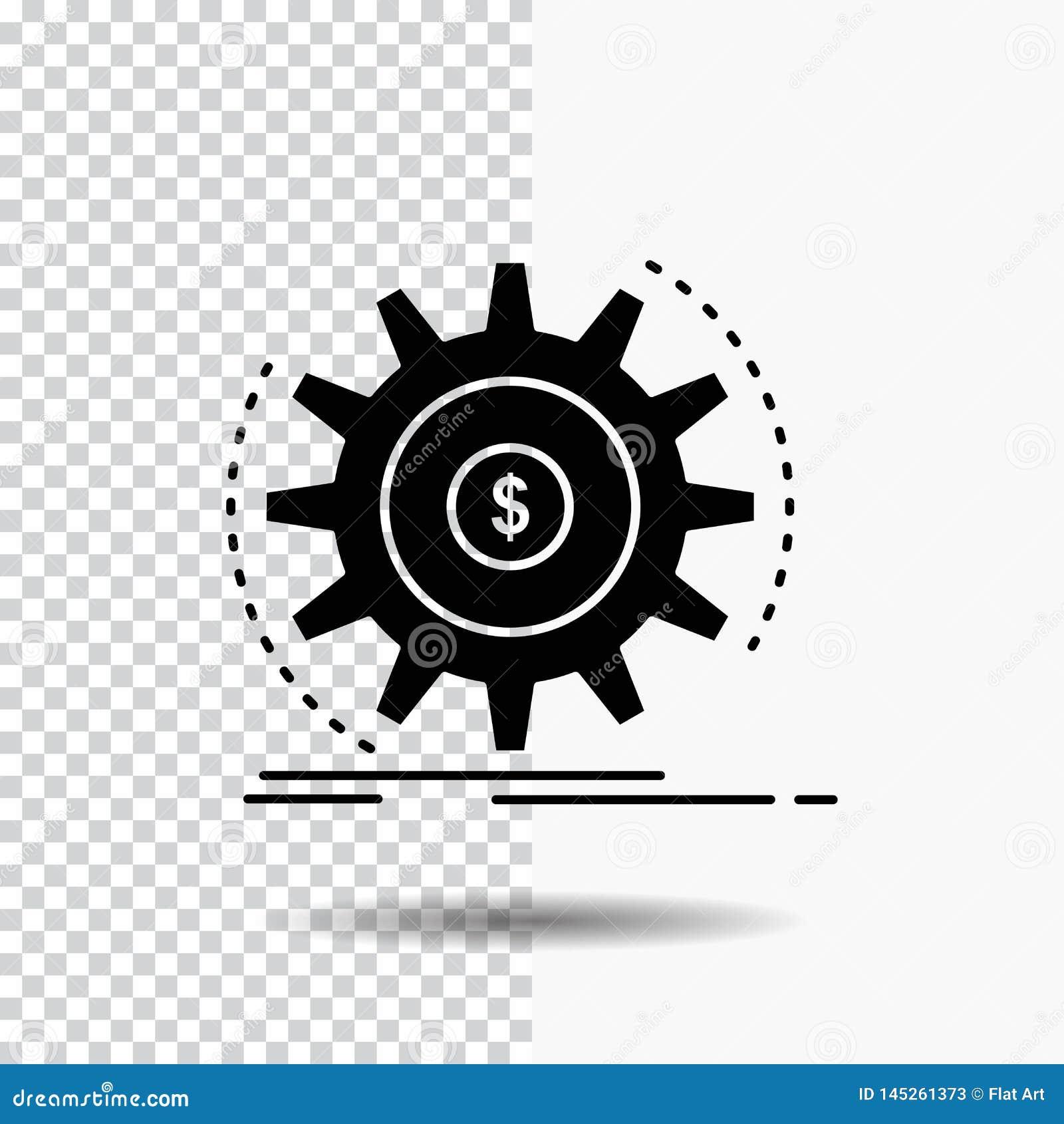 Finans flöde, inkomst, danande, pengarskårasymbol på genomskinlig bakgrund Svart symbol