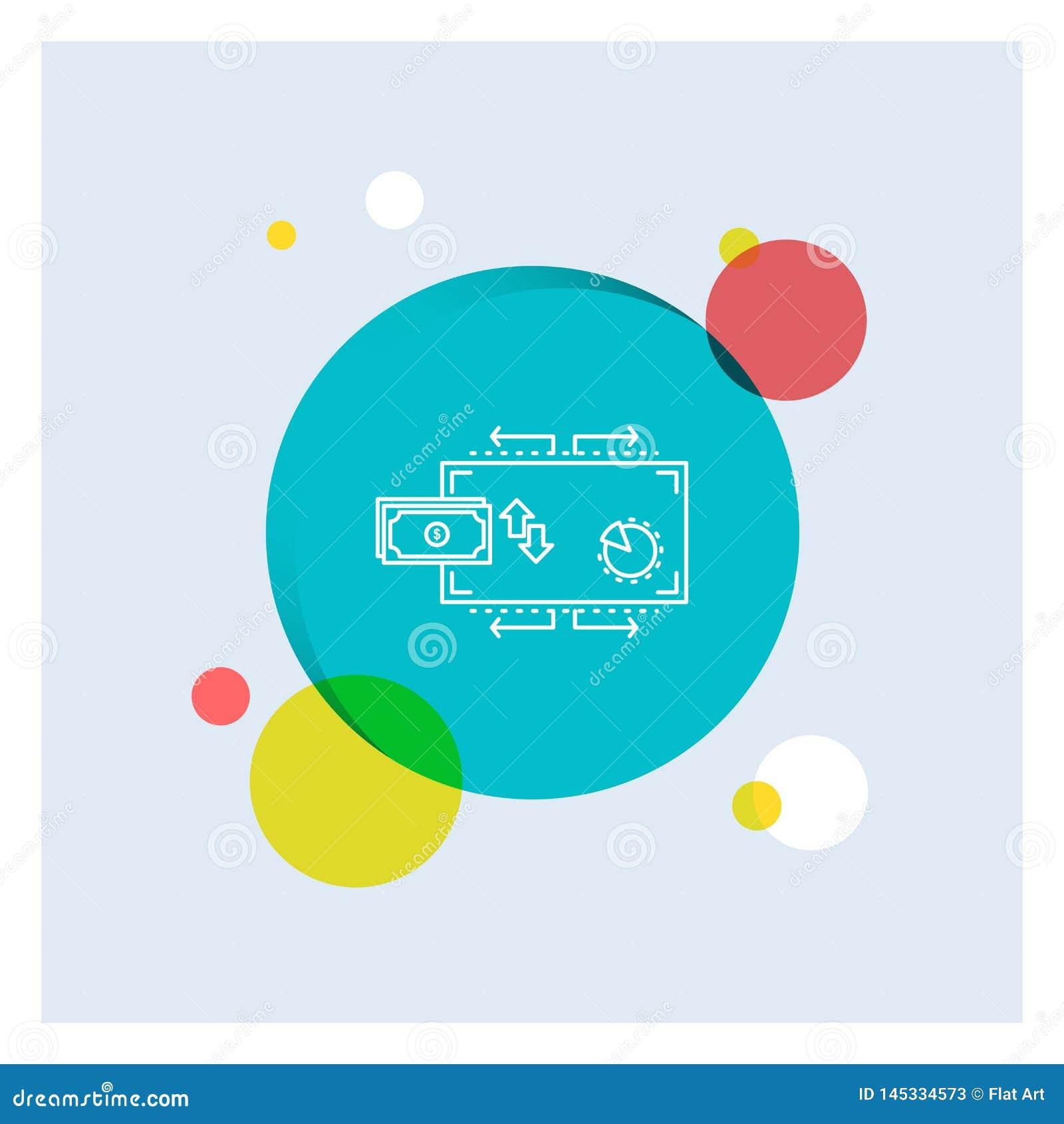 Finanse, przepływ, marketing, pieniądze, zapłaty Białej linii ikony okręgu kolorowy tło