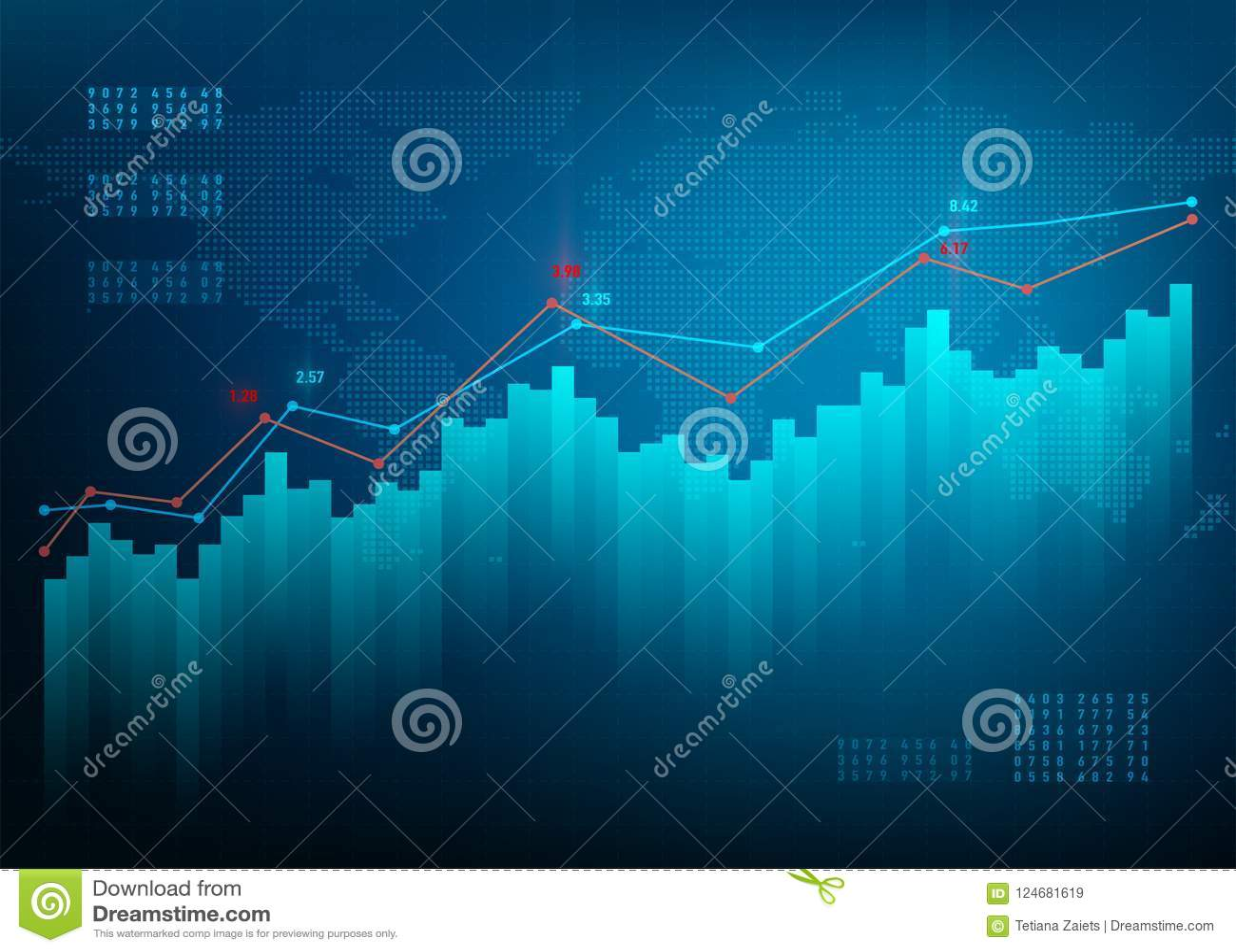 Finanshighqualityen för diagram 3d framför Materielgrafmarknad Bakgrund för vektor för tillväxtaffärsblått Kvalitetsdataonline-ba