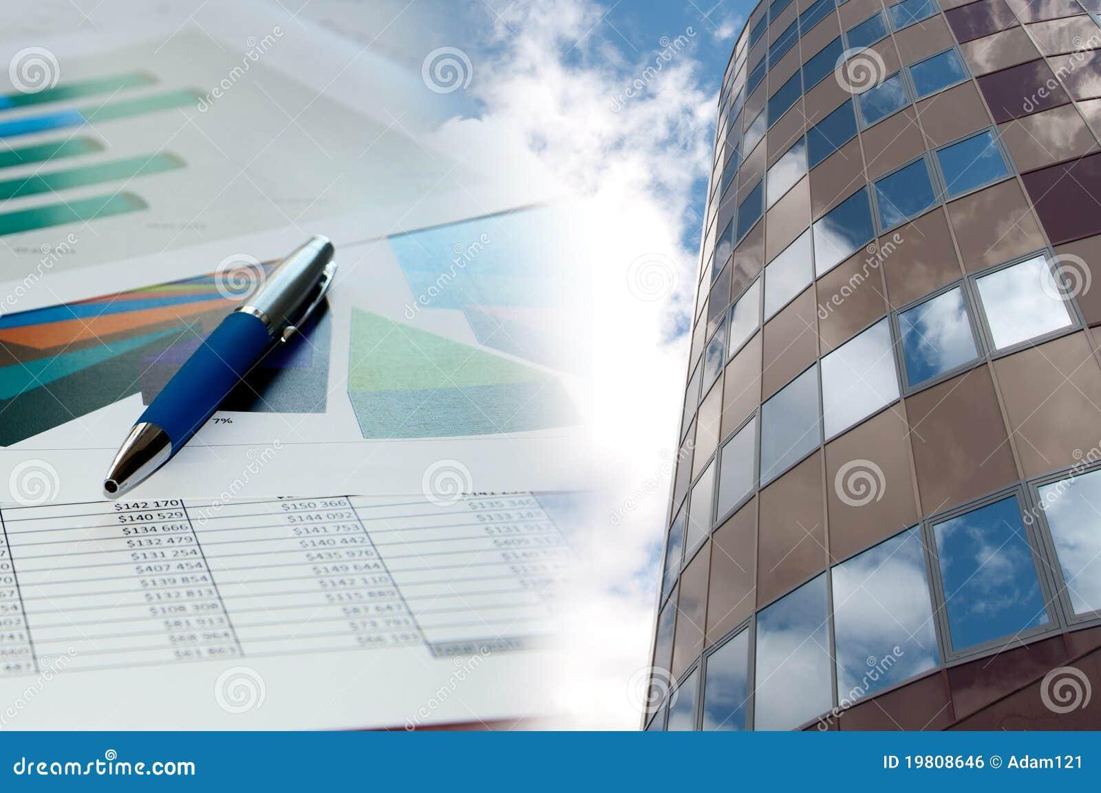 Finansiell collage för byggnadsaffärsdiagram