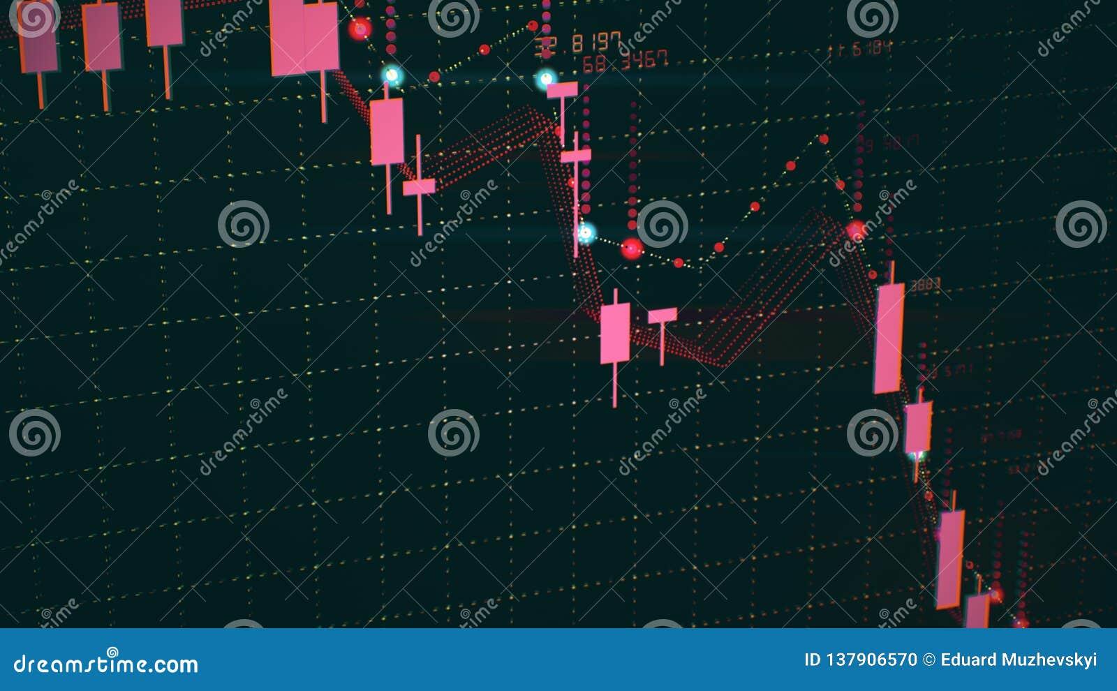 Finansiell diagramnedgång på rå marknad och att visa nedgång eller finanskris