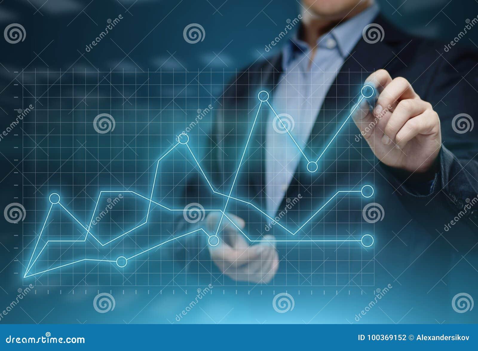 Finansiell graf Aktiemarknaddiagram Begrepp för teknologi för internet för Forexinvesteringaffär