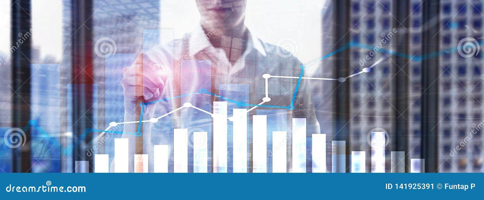 Finansiell tillväxtgraf Försäljningsförhöjning, begrepp för marknadsföringsstrategi