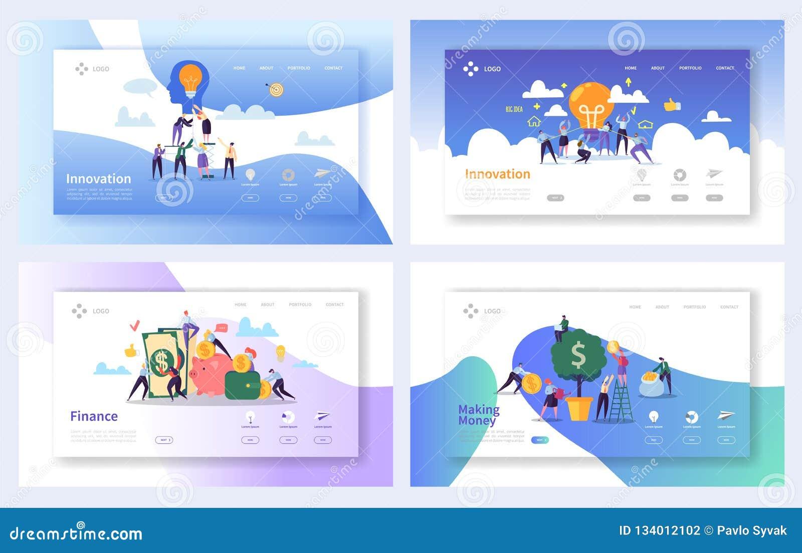 Finansiella affärsinnovationidéer som landar sidauppsättningen Idérikt begrepp för pengartillväxt Online-packa ihopinvesteringfra