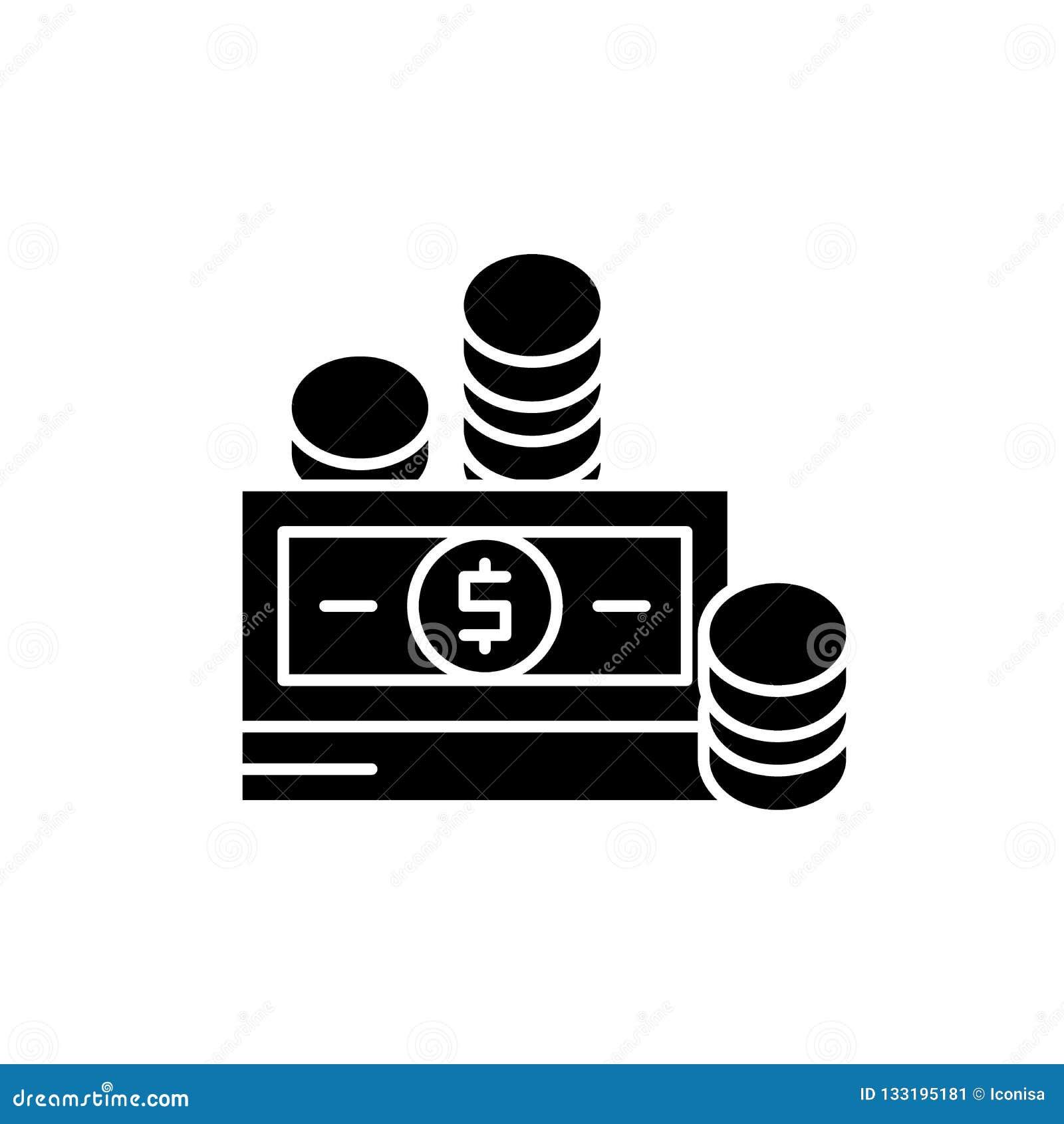 Finansiella bidrag svärtar symbolen, vektortecken på isolerad bakgrund Begreppssymbol för finansiella bidrag