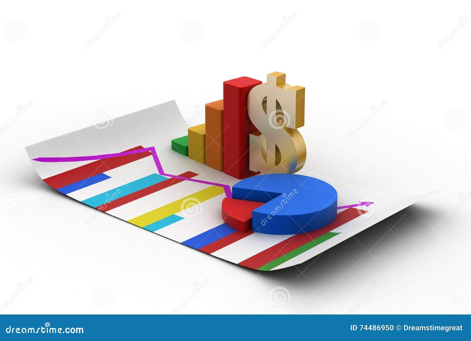 Finansiellt graf och pajdiagram med dollartecknet