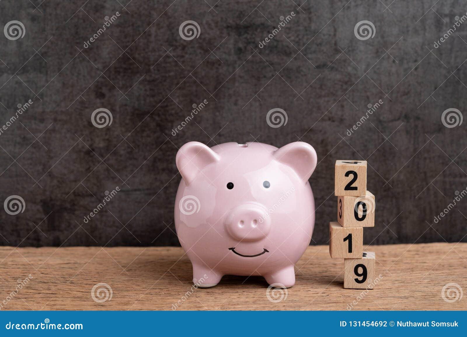 Finansiellt mål för år 2019, budget-, investering- eller affärsmålbegrepp, rosa spargris och bunt av kubträkvarterbyggnad