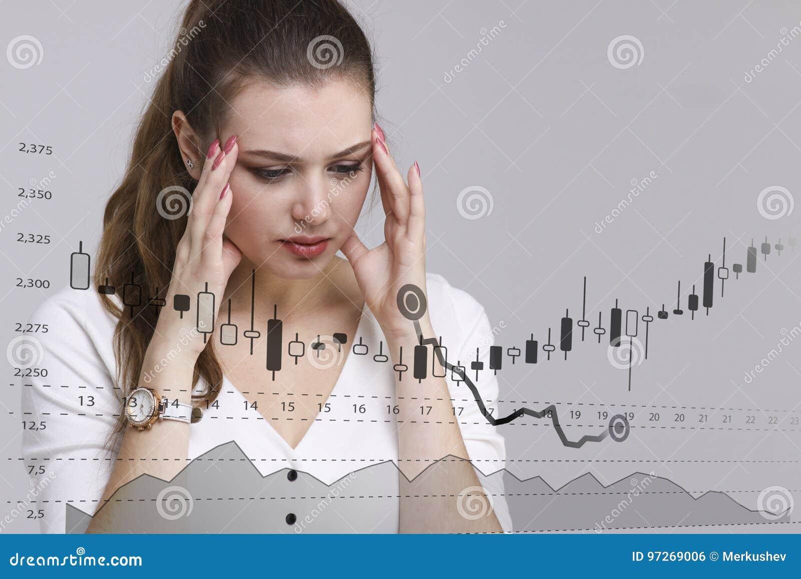 Finansowy dane pojęcie Kobieta pracuje z analityka Sporządza mapę wykres informację z Japońskimi świeczkami na cyfrowym ekranie