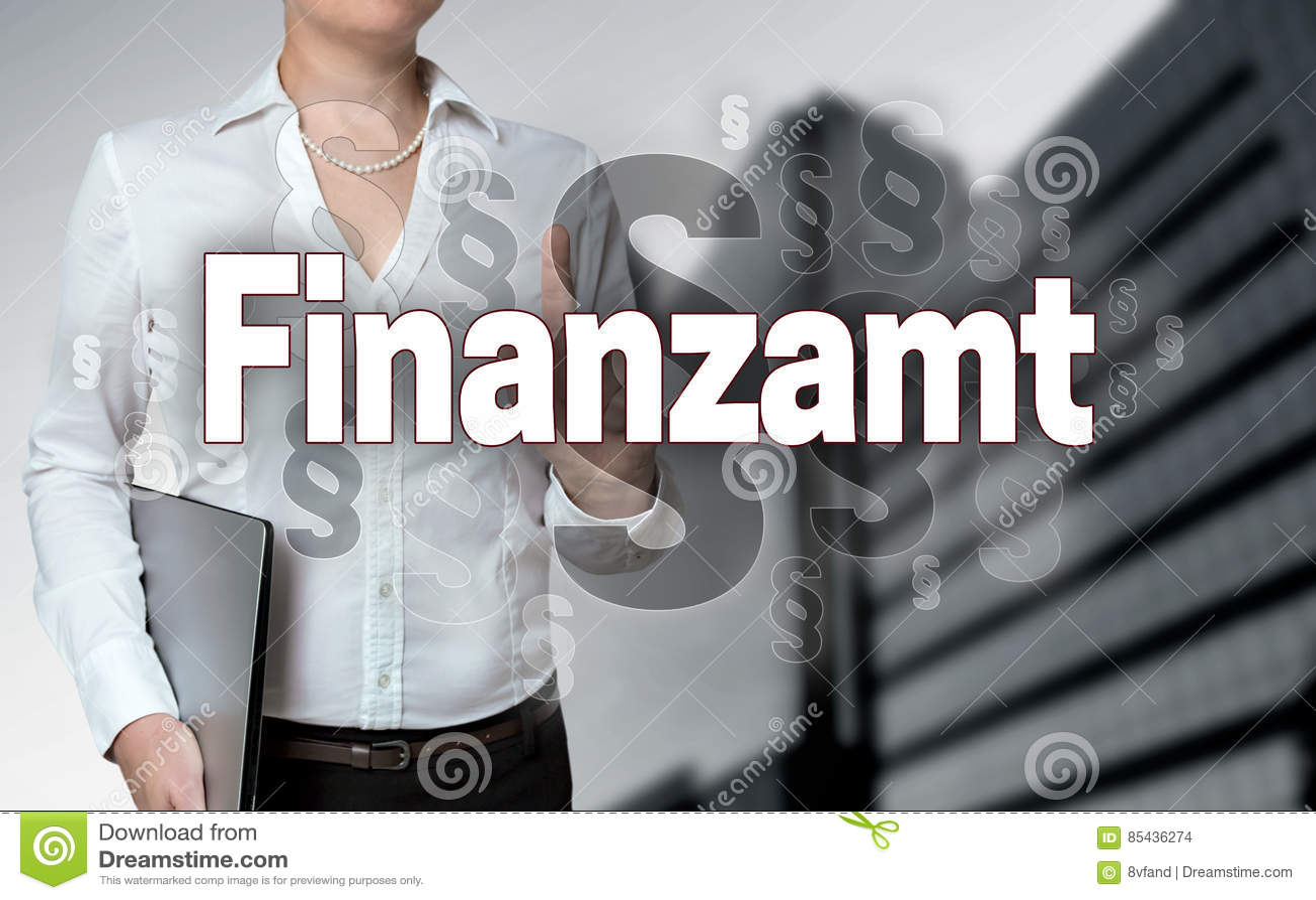Finanzamt no écran sensível financeiro alemão da autoridade é opera-se