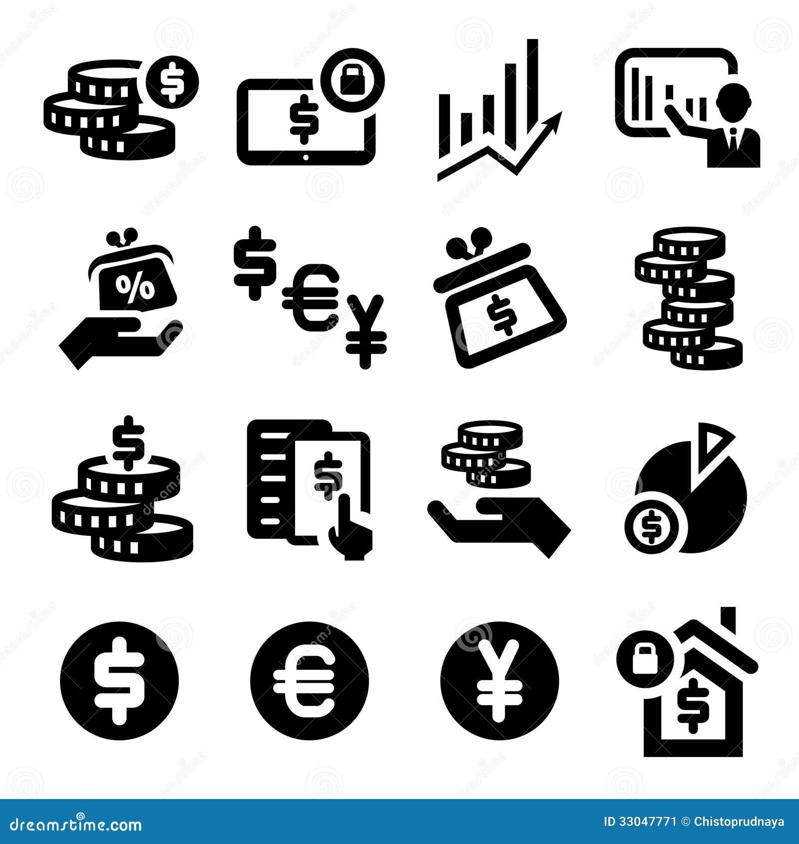 finanzas iconos fijados ilustraci u00f3n del vector